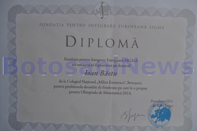 diploma obţinută de profesorul Ioan Băetu