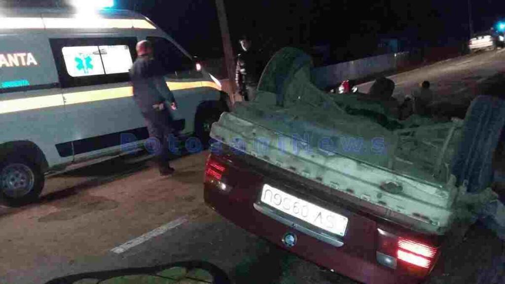 accident-noaptea la dangeni- botosani masina rasturnata