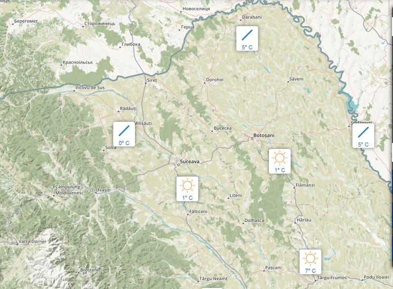 harta meteo- temperaturi Botosani- Suceava